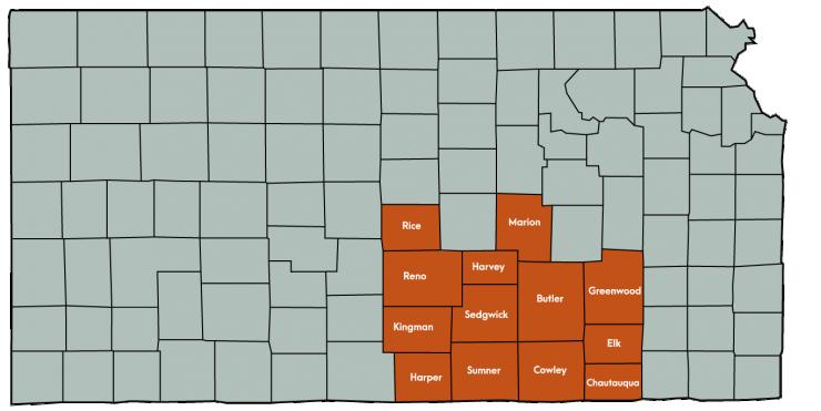 Kansas Map Featuring the following counties: Butler, Chautauqua, Cowley, Elk, Greenwood, Harper, Harvey, Kingman , Marion, Reno, Rice, Sedgwick, Sumner