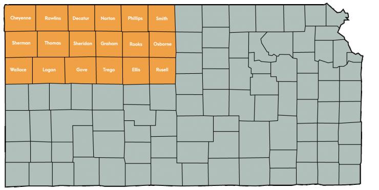 Kansas Map Featuring the following counties: Cheyenne, Decatur, Ellis, Gove, Graham, Logan, Norton, Osborne, Phillips, Rawlins, Rooks, Russell, Sheridan, Sherman, Smith, Thomas, Trego, Wallace