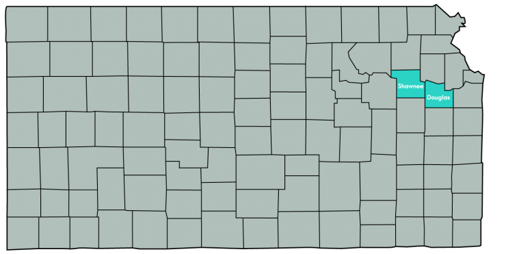 Kansas Map Featuring the following counties: Douglas, Leavenworth, Shawnee, Wyandotte
