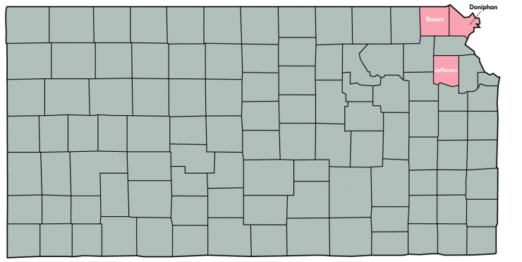 Kansas Map Featuring the following counties: Atchison, Doniphan, Brown, Jackson, Jefferson, and Nemaha