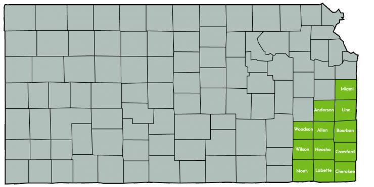 Kansas Map Featuring the following counties: Allen, Anderson, Bourbon, Cherokee, Crawford, Labette, Linn, Miami, Montgomery, Neosho, Wilson, Woodson