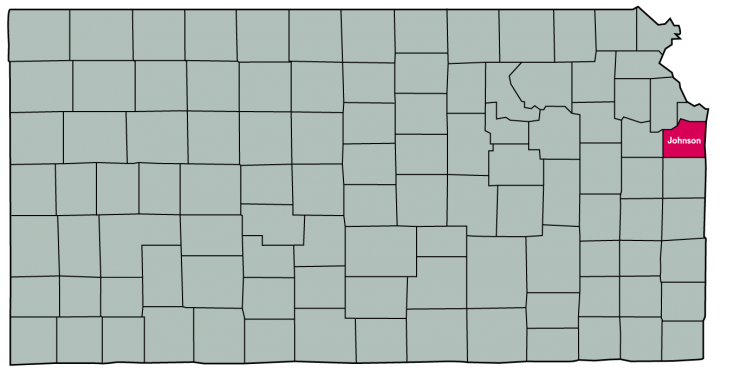 Kansas Map Featuring the following counties: Johnson, Wyandotte, and Leavenworth