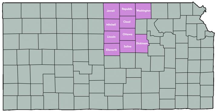 Kansas Map Featuring the following counties: Cloud, Dickinson, Ellsworth, Jewell, Lincoln, Mitchell, Ottawa, Republic, Saline & Washington