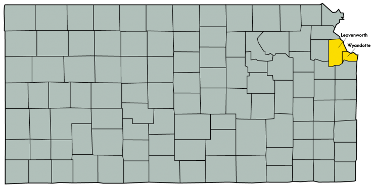 Kansas Map Featuring the following counties: Leavenworth and Wyandotte