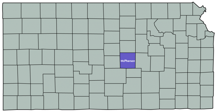 Kansas Map Featuring the following counties: McPherson