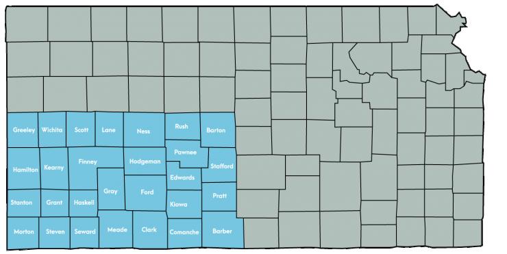 Kansas Map Featuring the following counties: Barber, Barton, Clark, Comanche, Edwards, Finney, Ford, Grant, Gray, Greeley, Hamilton, Haskell, Hodgeman, Kearny, Kiowa, Lane, Meade, Morton, Ness, Pawnee, Pratt, Rush, Scott, Seward, Stafford, Stanton, Steven